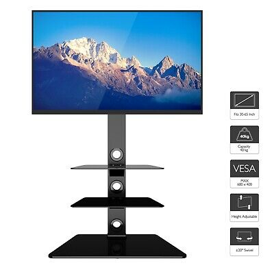 Glass TV Stand with Bracket Black for 27-55 inch LCD LED 3D VESA up to 600x400