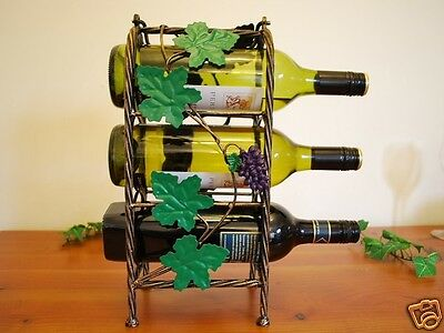 Wrought Iron French Vintage GrapeVine Wine Bottle Rack Stand