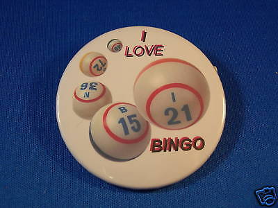 """I LOVE BINGO"" balls Button  pin pinback badge GAMBLING"