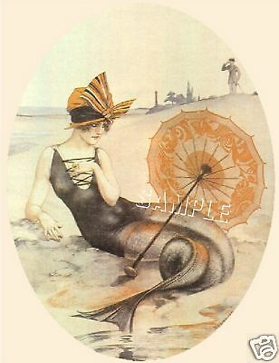 Art Deco Mermaid Parasol Fairy Fantasy Canvas Art Print