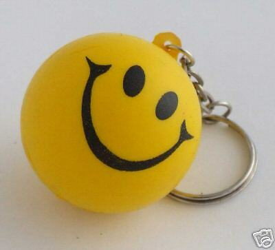 Mardi Gras Smiley Face Keychain SOFT Yellow Bouncy FUN