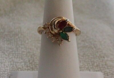 Gorgeous Vintage ROMAN Goldplate Gemstone Ring Size 8