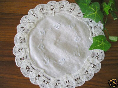 Dainty Batten Lace Hand Embroidery Doily Round 18cm