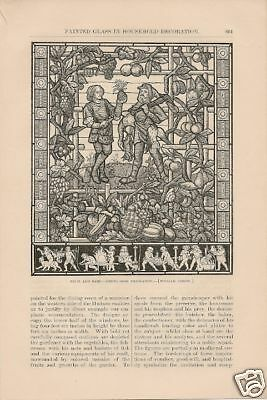 1879 Painted Stained Glass Decorative vintage article