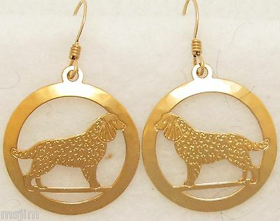 American Water Spaniel Jewelry Gold Dangle Earrings by Touchstone Dog Designs