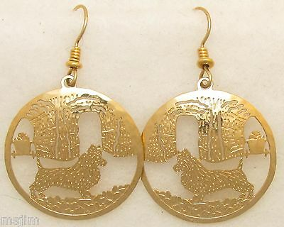 Australian Terrier Jewelry Gold Wire Earrings by Touchstone Dog Designs