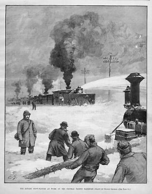 Sierra Nevada 1890 Pacific Railroad Locomotive Rotary Snow-Plough Blowing Snow