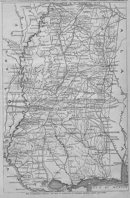 Civil War Map Of Mississippi Field Of Operations Of General Grant And Sherman