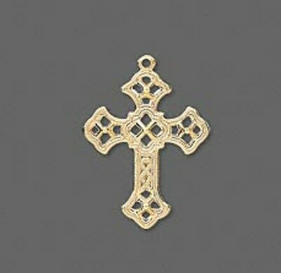 Gold Cross Charm Pressed Metal Jewelry Scrapbook Lot of 10