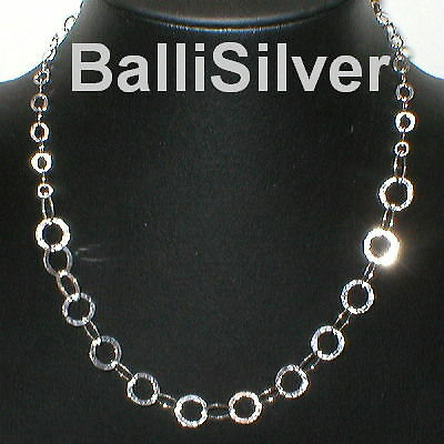 "4pcs St Silver 18"" HAMMERED CIRCLES Chain Necklaces Lot"