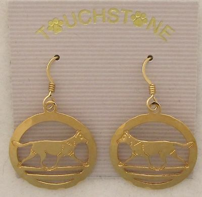 Belgian Malinois Jewelry Gold Earrings by Touchstone Dog Designs