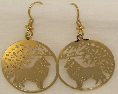 Belgian Tervuren Sheepdog Jewelry Gold Dangle Earrings