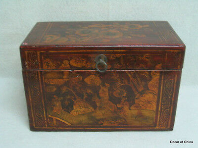Nice Chinese Antique Painted Wooden Storage Chest M1502