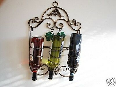 French Rolling Vineyard Metal Wall Wine Rack 3 Bottles