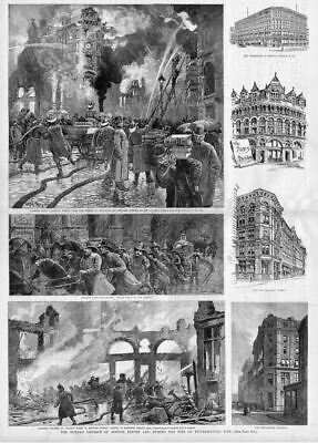 Firemen Fighting Boston Fire, Antique Fire Engine Print