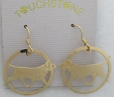 Bullmastiff Jewelry Gold Dangle Earrings by Touchstone Dog Designs