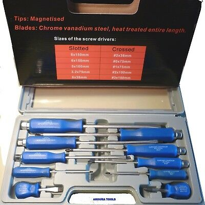 SCREWDRIVER SET 10pce- TOP QUALITY - GO THRU SHAFTS - NEW IN CASE.