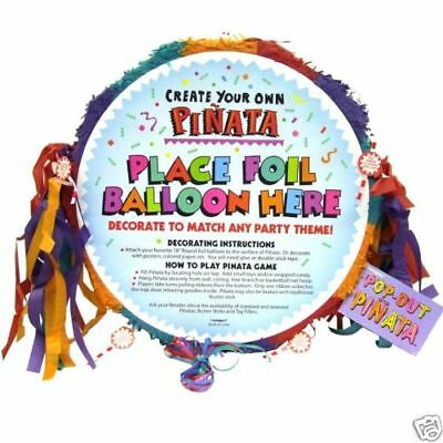 Multi Coloured Blank Pull Pinata - 48 cm - Childrens Party Games - Birthday Game