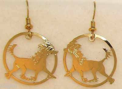 Chinese Crested Jewelry Gold Dangle Earrings