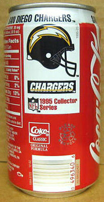 COCA-COLA '95 SAN DIEGO CHARGERS Soda CAN Coke Football