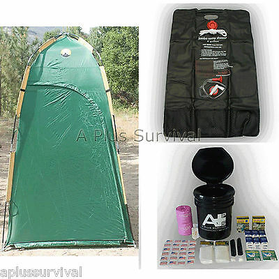 Deluxe Shelter, Solar Shower & Portable Toilet Kit