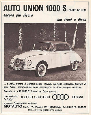 Auto Union 1000 S Coupe 1964 Italian Magazine Ad