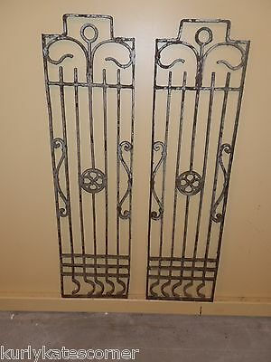Spectacular Pair Of Antique Victorian Iron Clover Sidelights