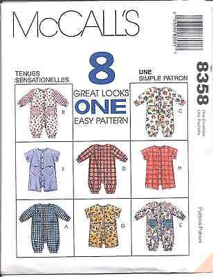 8358 Vintage McCalls SEWING Pattern Baby Infant Jumpsuit Romper S-XL UNCUT OOP