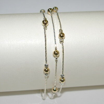 6 pieces Sterling Silver 925 & Gold Filled Beads 3 Strands Two Tone BRACELETS
