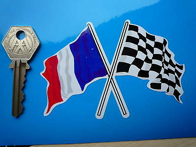 Crossed French Tricolour & Chequered Flag Sticker 100mm Car Bike Helmet Renault