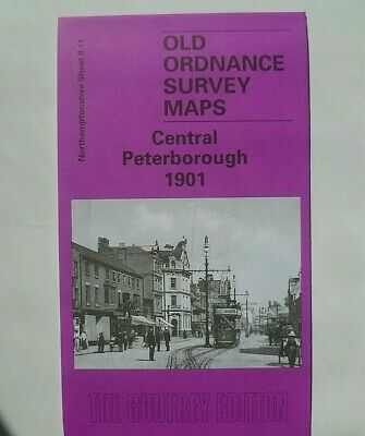 Old Ordnance Survey Detailed Maps Central Peterborough  1901 Godfrey Edition New