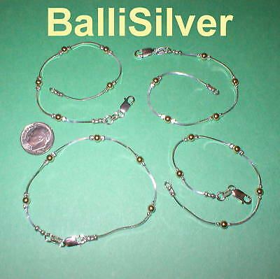 4 Sterling Silver and Gold Filled Beads BRACELETS Lot