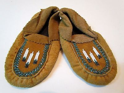Native American Beaded Moose Hide, Child Moccasins 6.5 Inches