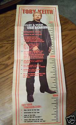 Toby Keith 2001 Timeline ACM Voter Request Poster