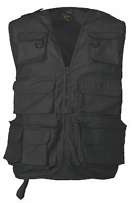Black Multi-Pocket Fly Fishing Hunting Shooting Camping Waistcoat Vest Xs - 5Xl