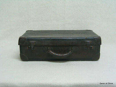 Chinese Antique Wood Leather Suitcase Storage Box M2402