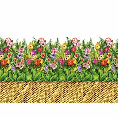 30ft Tiki Flower and Bamboo Walkway Border Roll - 10m Tropical Party Decorations