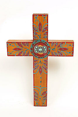 Concho Cross-Mexican Folk Art-Crosses-Yellow-Handmade-Hand Painted-Wood-Wall