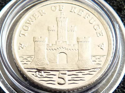 2009 Isle of Man 5p coin BU Tower of Refuge