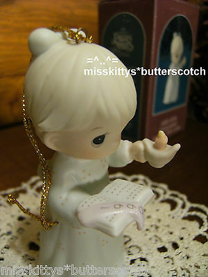 Precious Moments~ORNAMENT~DATED 1990~523852~Once Upon A Holy Night~Girl w CANDLE