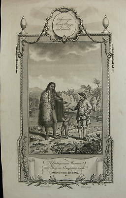 1778 Engraving - Patagonian Woman with Commodore Byron
