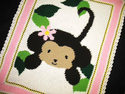 Crochet Patterns-JUNGLE MONKEY BABY GIRL Afghan Pattern