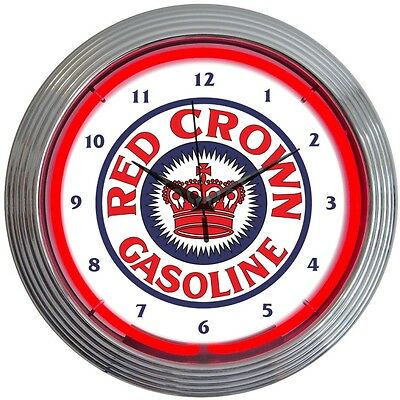 Red Crown Neon clock sign Standard oil Texaco Gasoline Gas pump globe wall lamp