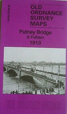 OLD ORDNANCE SURVEY DETAILED MAPS PUTNEY BRIDGE & FULHAM LONDON 1913 Godfrey Edt