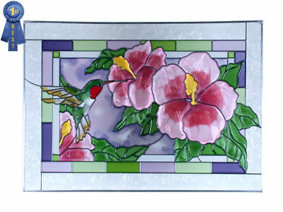 20x14 HUMMINGBIRD Hibiscus Floral Stained Art Glass  Window Suncatcher
