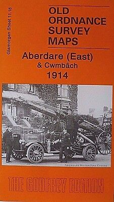 OLD ORDNANCE SURVEY MAPS ABERDARE EAST & CWMBACH GLAMORGAN  1914 Godfrey Edition