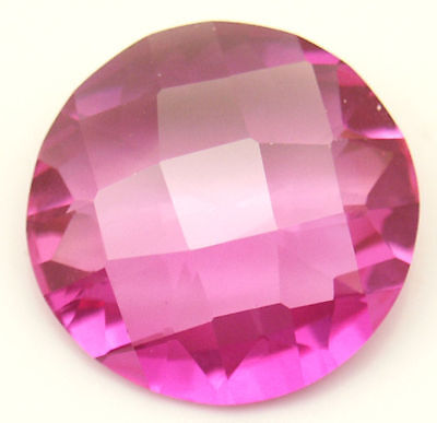 19 mm 21.4 cts Round Checkerboard Pink Created Sapphire