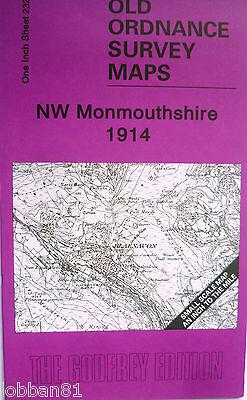 OLD ORDNANCE SURVEY MAPS NW MONMOUTHSHIRE  & MAP LLECHRYD 1914 Godfrey Edition