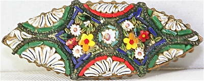 Vintage Antique Italian Micro Mosaic Pin Micromosaic