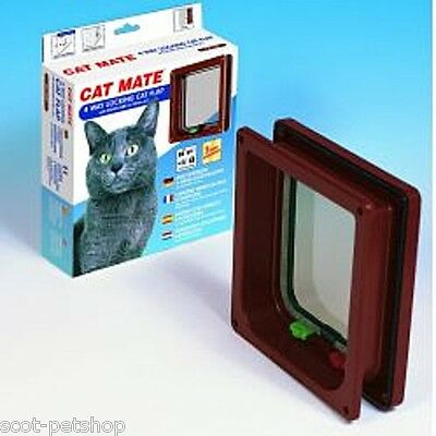 NEW Pet Mate Cat Flap 4 Way Locking With Liner Brown